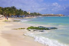 Plage de Playa del Carmen, Mexique photo stock
