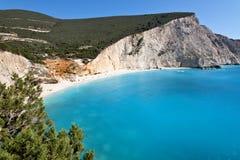 Plage de Porto Katsiki à Lefkada, Grèce Images libres de droits