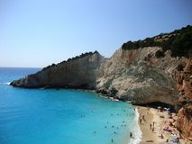 Plage de Porto Katsiki sur Leucade en Grèce Photo libre de droits