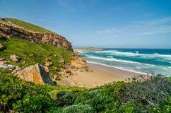 Plage de réserve naturelle de Robberg, itinéraire de jardin, Afrique du Sud Photographie stock libre de droits