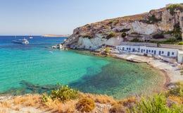 Plage de Rema, île de Kimolos, Cyclades, Grèce Images libres de droits