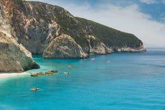 Plage de renommée mondiale de Porto Katsiki, île de Leucade, Grèce photos stock