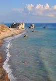 Plage de roche d'Aphrodite, Chypre Images libres de droits
