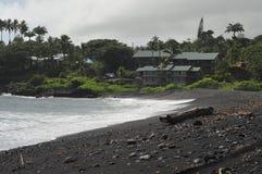 Plage de sable de noir de Waikoloa, Hana Hawaii photo stock
