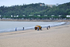 Plage de sable de noir du Macao Photos libres de droits