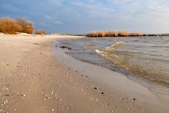 Plage de sable sur la Mer du Nord, Hindeloopen Photographie stock