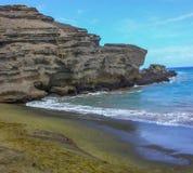 Plage de sable de vert de plage de Papakolea photo libre de droits
