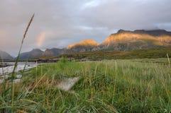 Plage de Sandbotnen, Lofoten, Norvège Images stock