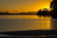 Plage de Scandrett de paysage de paysage Auckland Nouvelle-Zélande pendant le temps de lever de soleil images stock