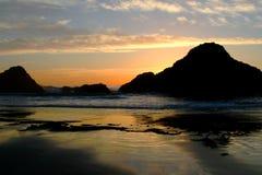 Plage de sceau, Orégon au coucher du soleil Image libre de droits