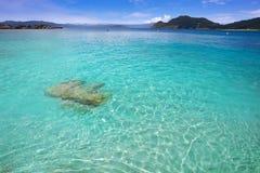 Plage de Senora de remèdes de charlatan dans des îles d'Islas Cies de Vigo photo libre de droits