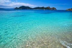Plage de Senora de remèdes de charlatan dans des îles d'Islas Cies de Vigo image libre de droits
