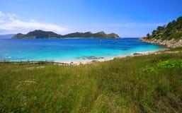 Plage de Senora de remèdes de charlatan dans des îles d'Islas Cies de Vigo photographie stock libre de droits