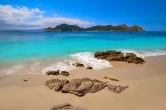 Plage de Senora de remèdes de charlatan dans des îles d'Islas Cies de Vigo images libres de droits