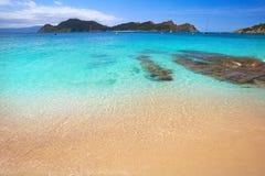Plage de Senora de remèdes de charlatan dans des îles d'Islas Cies de Vigo photographie stock