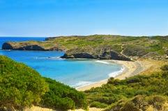 Plage de Tortuga dans Menorca Photographie stock