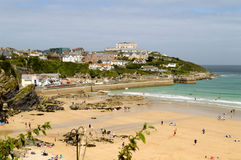 Plage de Towan et port de Newquay Photographie stock libre de droits