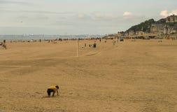 Plage de Trouville-sur- Mer, France La région est Basse-Normandie dans le département du Calvados photos stock