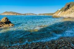 Plage de Tuarredda en Sardaigne du sud Photo stock