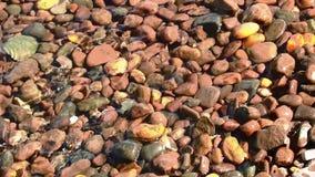 Plage de vague de ressac de l'eau de pierres banque de vidéos