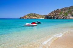 Plage de Vai avec la lagune bleue sur Crète Photographie stock libre de droits