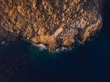 Plage de Vatses de vue aérienne Astypalaia/Grèce photo stock
