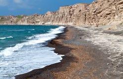 Plage de Vlychada chez Santorini, Grèce image stock
