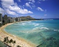 Plage de Waikiki et tête de diamant image libre de droits