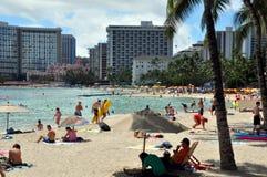 Plage de Waikiki, Oahu, Hawaï Images libres de droits