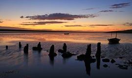 Plage Dorset de coucher du soleil photographie stock libre de droits