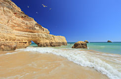 Plage du DA Rocha de Praia dans Portimao, Algarve Photos libres de droits
