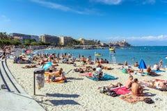Plage Du Ponteil, Antibes, Cote d ` Azur, Francja Zdjęcie Stock