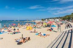 Plage Du Ponteil, Antibes, Cote d ` Azur, Francja Zdjęcia Stock