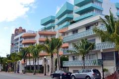 Plage du sud de vue de rue, Miami Images libres de droits