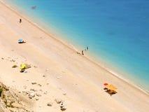 Plage Egremni à Leucade Grèce Une belle plage exotique avec le sable blanc Images stock