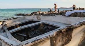 Plage en île de Thassos, Grèce Photographie stock libre de droits