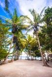 Plage ensoleillée tropicale dans la belle station de vacances exotique photos stock