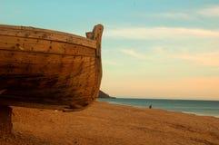 Plage et bateau Photographie stock