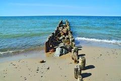 Plage et brise-lames baltiques Photo libre de droits