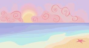 Plage et coucher du soleil avec des couleurs en pastel Photographie stock libre de droits