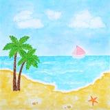 Plage et horizontal tropical d'été de mer ou d'océan Photo libre de droits