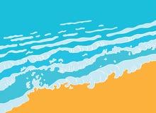 Plage et vague bleue de mer, vecteur illustration de vecteur