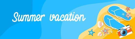 Plage Flip Flops Camera Tropical Vacation d'été Photographie stock