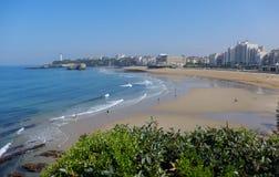 Plage grande de Biarritz, França imagens de stock