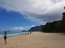 Plage hawaïenne de rivage du nord image stock