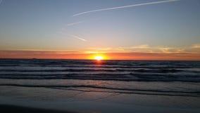 Plage Hollandes de coucher du soleil photos stock