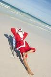 Plage le père noël de vacances de Noël Photos stock