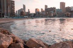 Plage méditerranéenne de soirée Photo libre de droits