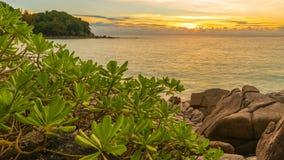 Plage magnifique de liberté au timelapse de coucher du soleil à Phuket, Thaïlande banque de vidéos