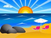 Plage, mer et ciel bleu Image libre de droits